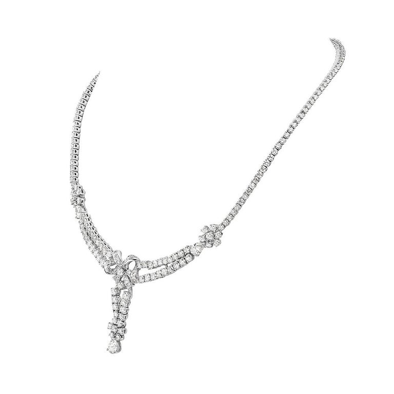 This necklace features 14.36 carats of G VS diamonds set in 18K white gold. 35.1 grams total weight. 7.5 inch drop. Made in Italy.   Viewings available in our NYC showroom by appointment.