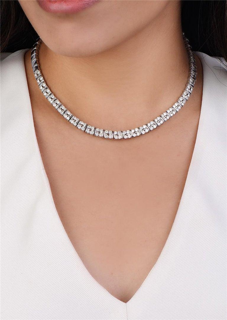 Round Cut 18 Karat White Gold Diamond Riviera Necklace For Sale