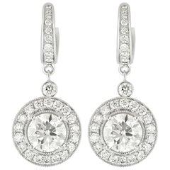 18 Karat White Gold and Diamond Round Drop Earrings