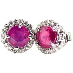 18 Karat White Gold Diamond and Ruby Earrings
