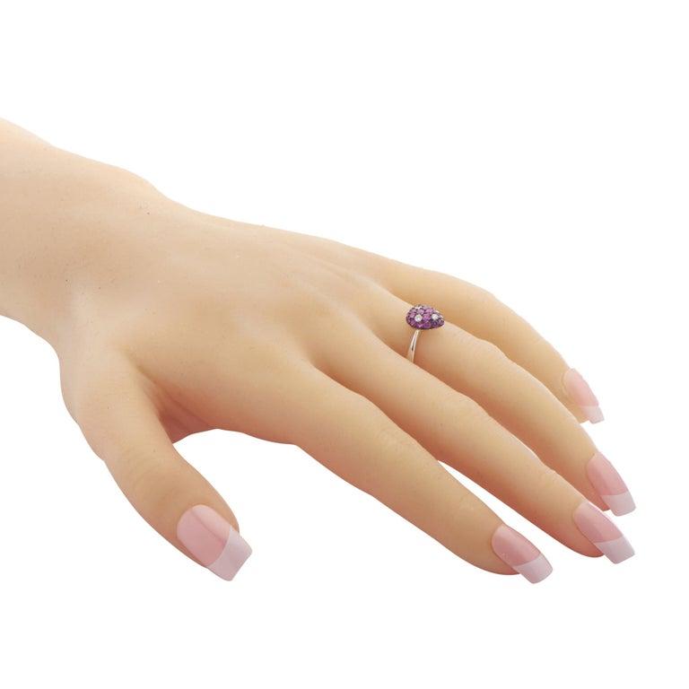Women's 18 Karat White Gold Diamond Ruby Ring For Sale