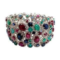 18 Karat White Gold Diamond Ruby Sapphire Emerald Wide Bracelet