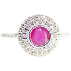 18 Karat White Gold Diamond and Ruby Statement Ring