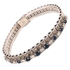 18 Karat White Gold Diamond Sapphire Bracelet