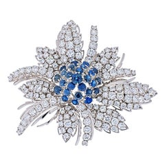 18K White Gold Diamond & Sapphire Cluster Brooch