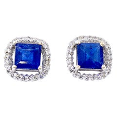 18 Karat White Gold Diamond and Sapphire Earrings