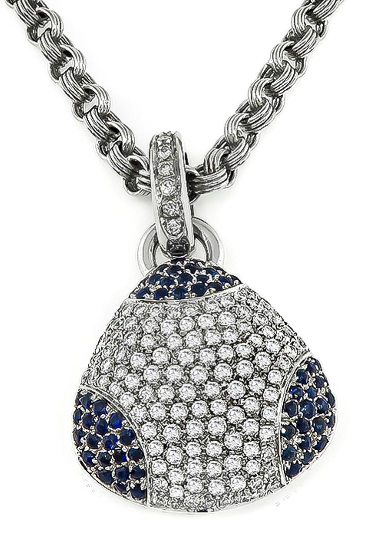 18 Karat White Gold Diamond Sapphire Pendant Necklace In Good Condition For Sale In New York, NY