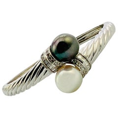 18K White Gold, Diamond, Tahitian & South Sea Pearl ByPass Bangle Bracelet