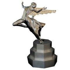 18K White Gold Diamonds 6.0 Carat Sculpture on 925 Silver Pedestal Rolls Royce