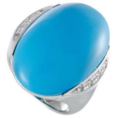 18 Karat White Gold Diamonds and Turquoise Cocktail Ring