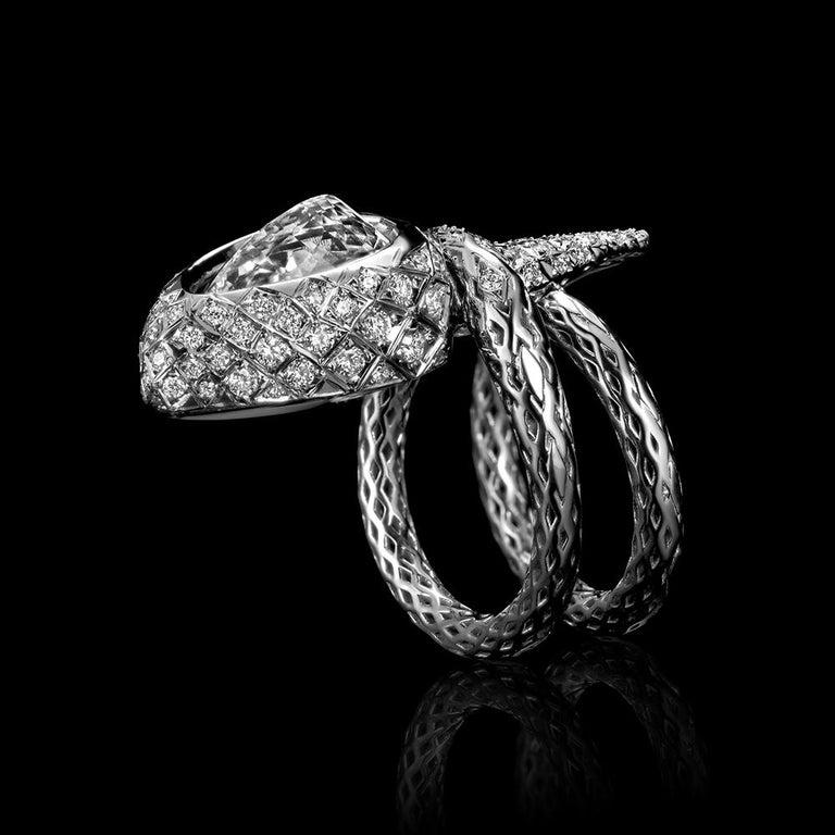 Contemporary 18 Karat White Gold Diamonds Designer Stylized Snake Cocktail Ring For Sale