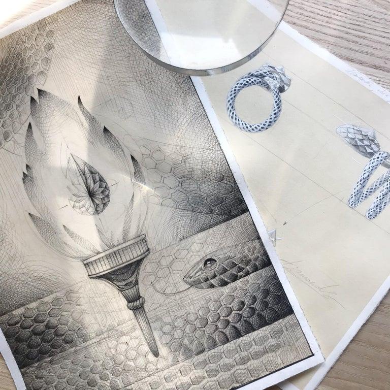 Brilliant Cut 18 Karat White Gold Diamonds Designer Stylized Snake Cocktail Ring For Sale