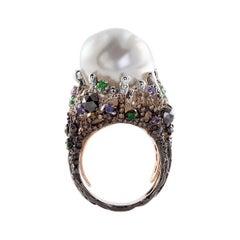 18k White Gold, Diamonds, Purple Sapphires, Tsavorites, Baroque Pearl, Ring