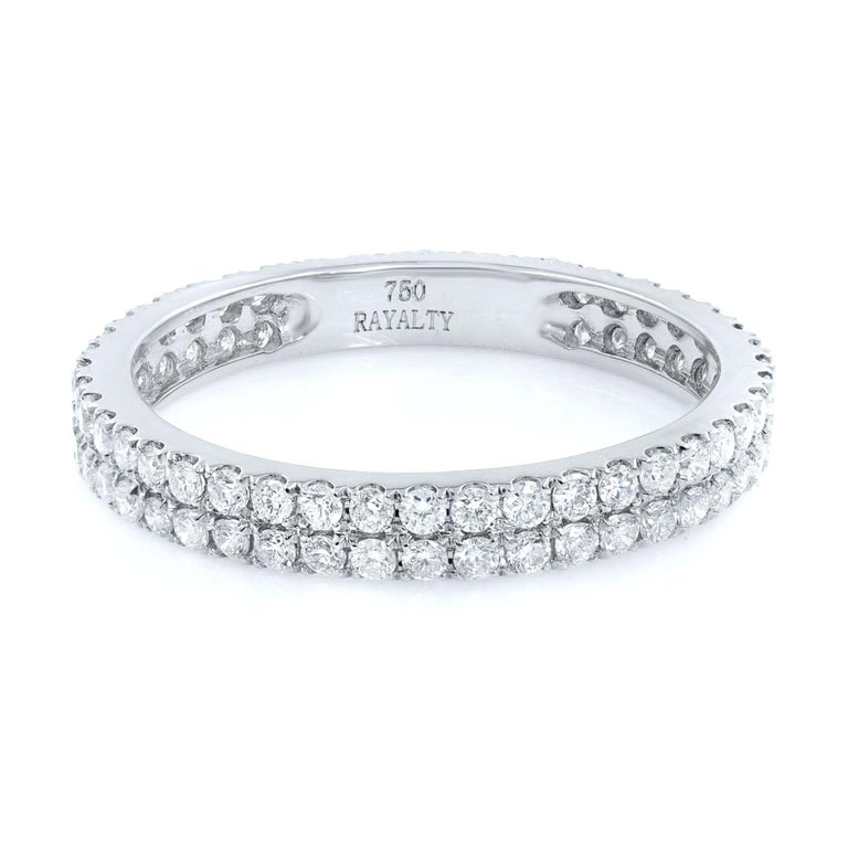 A double row of scalloped pave round Diamonds Eternity Band 18K White Gold 0.61cts Size: 5.25 Weight: 1.4