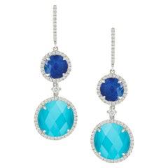 18k White Gold Drop Earrings with White Topaz, Turquoise Lapis Lazuli & Diamonds