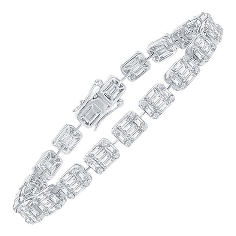 18 Karat White Gold Emerald Cut Tennis Bracelet