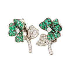 18k White Gold  Emeralds  White Diamond Stud Earrings AENEA Jewellery