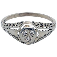 18 Karat White Gold Filigree and European Cut Diamond Ring