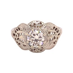 18k White Gold Filigree Art Deco .60ct Genuine Natural Diamond Ring '#J4895'