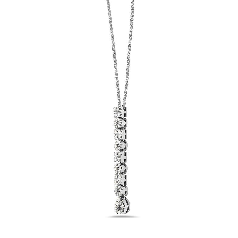 This flexible diamond pendant features 0.39 carats of G VS diamonds set in 18K white gold. 5.7 grams total weight. Made in Italy.   Viewings available in our NYC showroom by appointment.