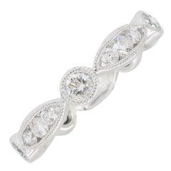 18 Karat White Gold Floral Diamond Eternity Band