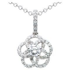 18K White Gold Flower Diamond Pendant