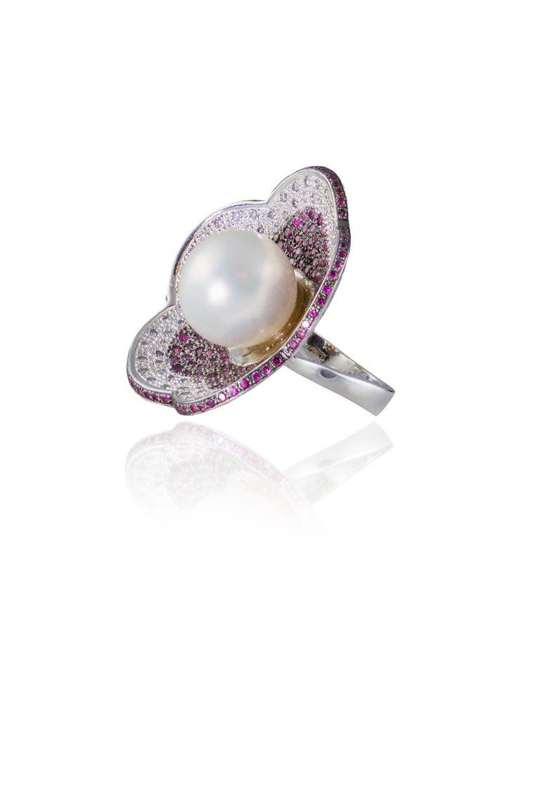 Women's 18 Karat White Gold Diamond Rubies Pearl Flower Ring For Sale
