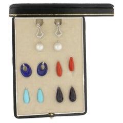 18 Karat White Gold Gem Earring Interchangeable Set