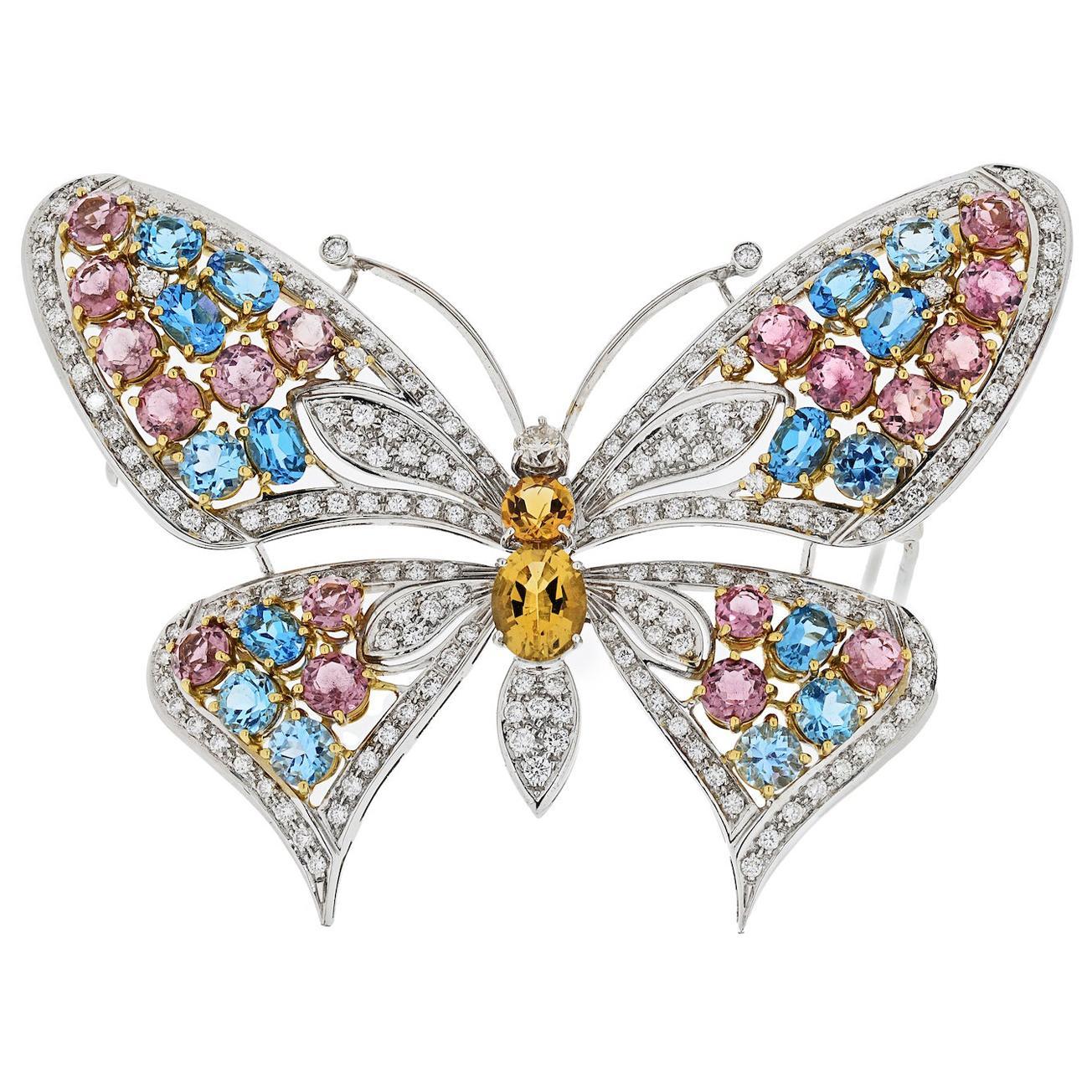 18 Karat White Gold Gemstone and Diamond Butterfly Pin Brooch