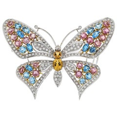 18 Karat White Gold Gemstone and Diamond Butterfly Pin Brooch