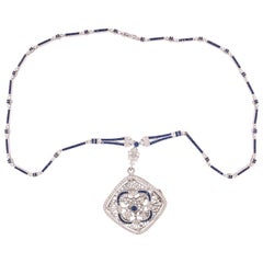 18k White Gold Genuine Natural Sapphire and Diamond Deco Style Necklace '#J4854'
