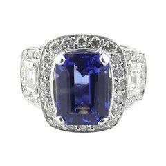 18k White Gold Genuine Tanzanite and Diamond Ring