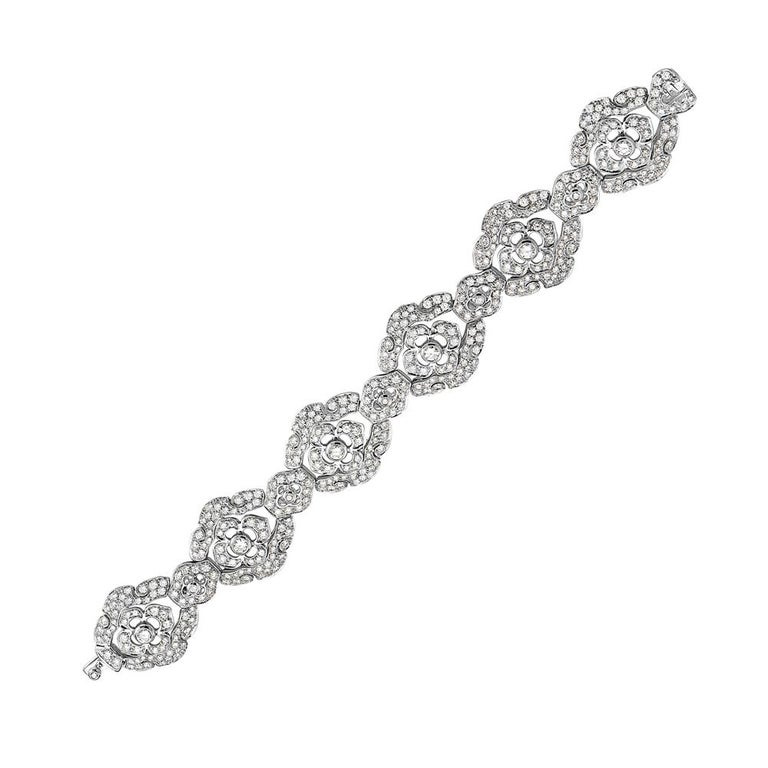 This bracelet features 15.33 carats of G VS diamonds set in 18K white gold. 59 gram total weight. Push clasp closure. 8.5 inch length. Made in Italy.   Viewings available in our NYC showroom by appointment.
