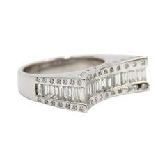 18k White Gold Handcraft Baguette Diamond Ring
