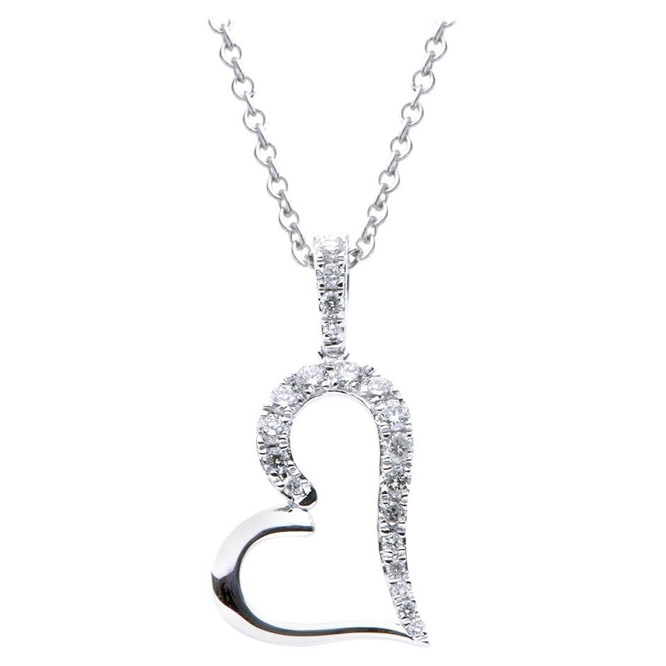 18K White Gold Hanging Heart Diamond Necklace