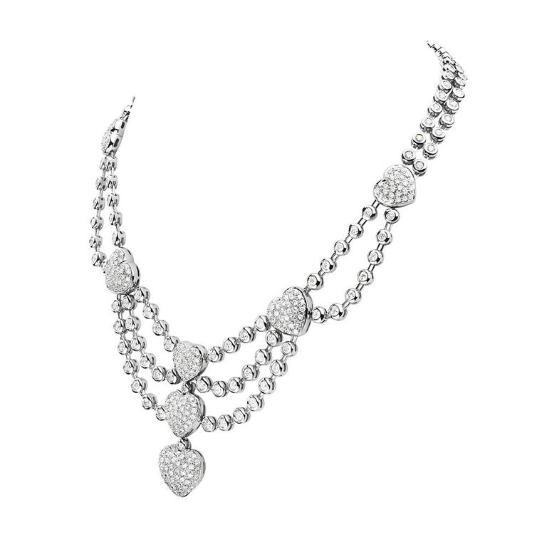 This standout necklace features 16.20 carats of G VS diamonds set in 18k white gold. 84.5 grams total weight. Made in Italy.   Viewings available in our NYC showroom by appointment.
