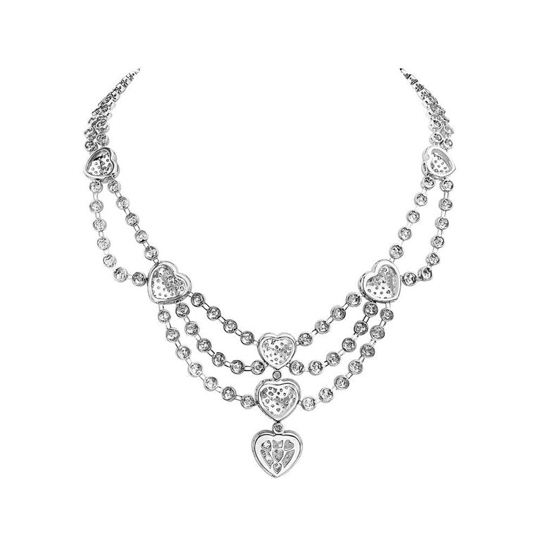 Contemporary 18 Karat White Gold Heart Charm Multi Row Chandelier Necklace For Sale