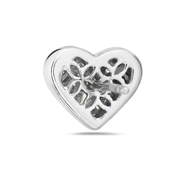 Modern 18 Karat White Gold Heart Princess Cut Earrings For Sale