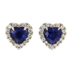 18k White Gold Heart Shape Blue Sapphires and Diamonds Halo Earrings 3 3/4 Carat