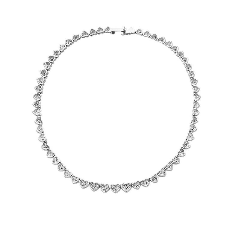Contemporary 18 Karat White Gold Heart Shape Diamond Riviera Necklace For Sale