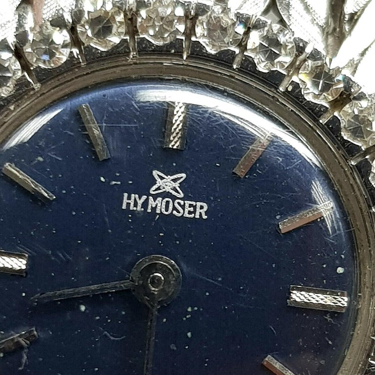 Contemporary 18 Karat White Gold HY MOSER Watch with Diamonds For Sale