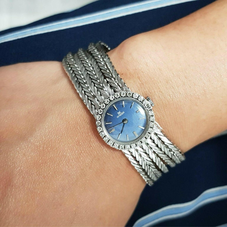 Round Cut 18 Karat White Gold HY MOSER Watch with Diamonds For Sale