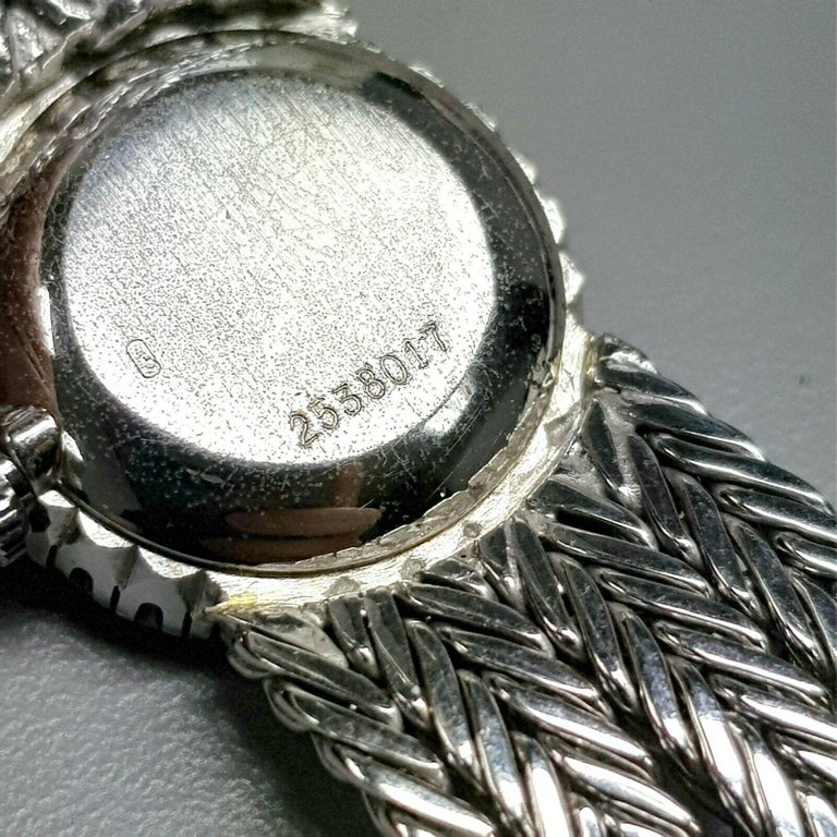 18 Karat White Gold HY MOSER Watch with Diamonds In Excellent Condition For Sale In Los Angeles, CA