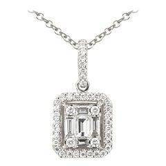 18K White Gold Illusion Emerald Shape Pendant with Diamond Halo and Chain