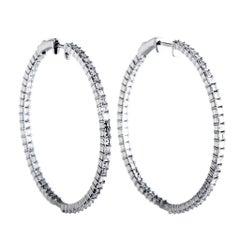 18 Karat White Gold Inside Out Diamond Hoop Earrings
