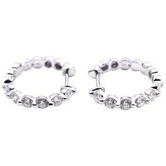 18 Karat White Gold Inside or Outside .65 Carat Diamond Hoop Earrings