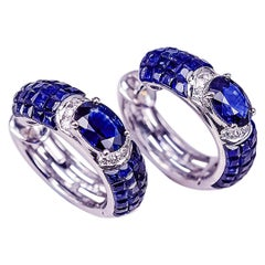 18K White gold invisible Big Sapphire Hoop Earrings