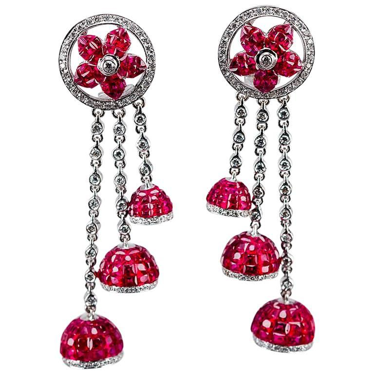 2795c1885 18K White gold invisible Ruby Dangling Earrings For Sale at 1stdibs