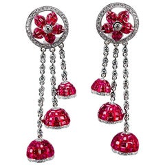 18K White gold invisible Ruby Dangling Earrings