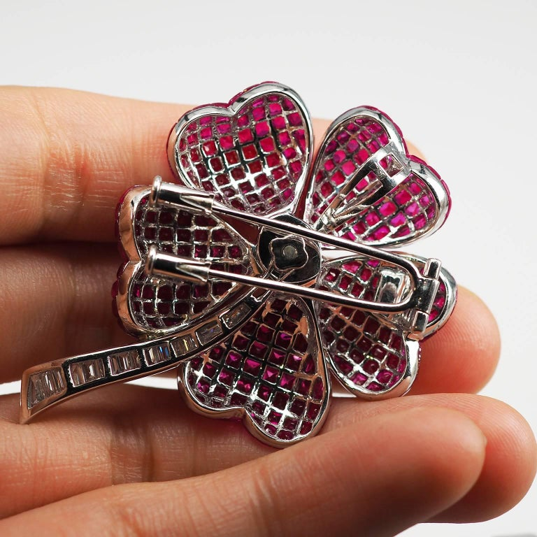 Modern 18K White gold invisible Ruby Flower Brooch For Sale